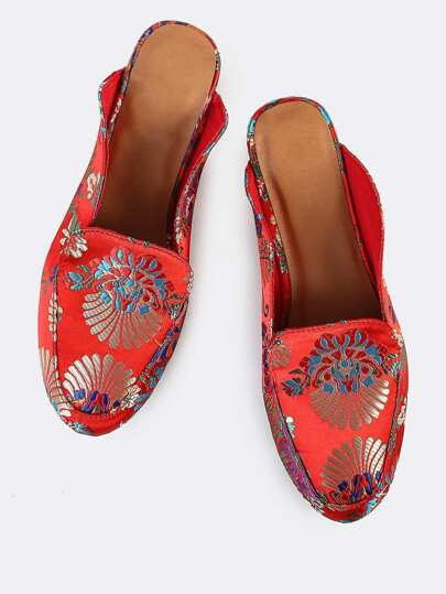 Printed Loafer Slides RED