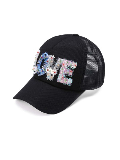 Sequin Letter Design Baseball Cap