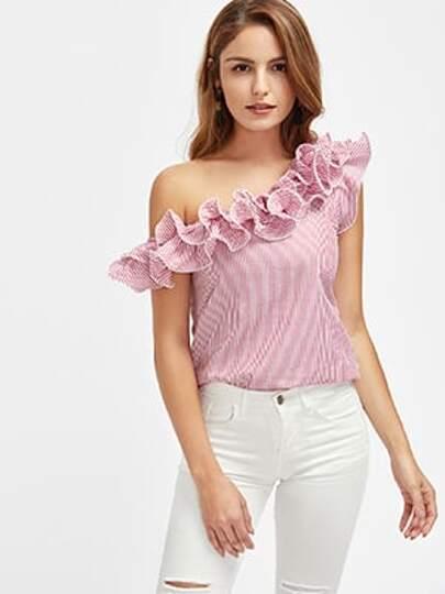 Bluse mit asymmetrischem Schulter, Falten, Streifen und Salatkante