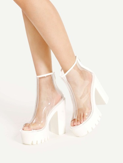 Clear Design Zipper Back Block Heels
