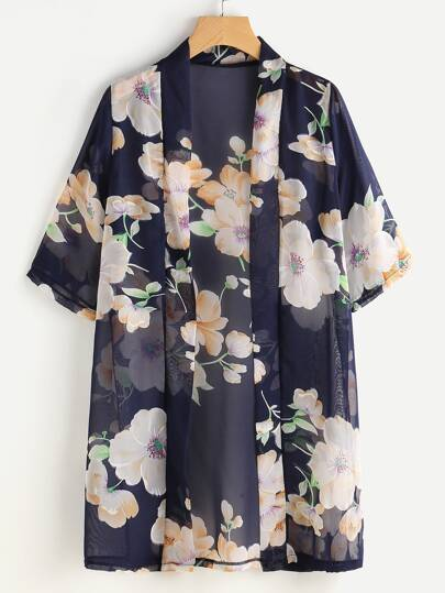 Kimono in chiffon floreale