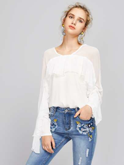 Ruffle Trim Tiered Top