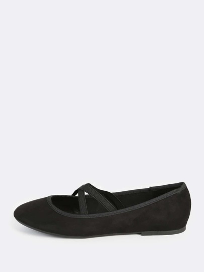 Ballet Cross Strap Flats BLACK