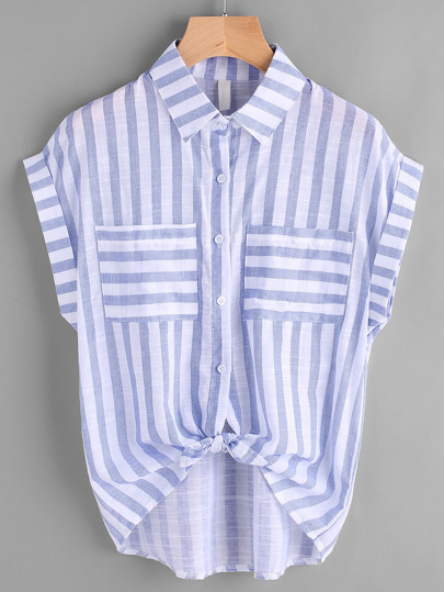 Striped Dip Hem Knot Cuffed Blouse With Dual Chest Pocket