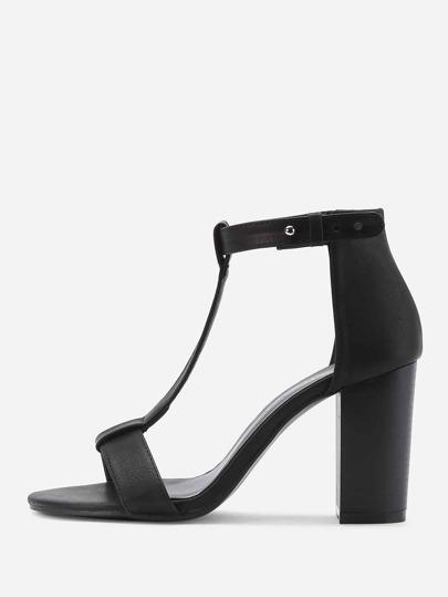 Sandales à talon en PU avec T-lacet