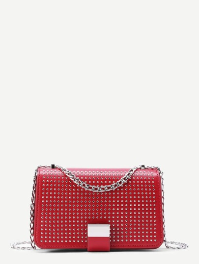 Studded Decorated Flap PU Crossbody Chain Bag