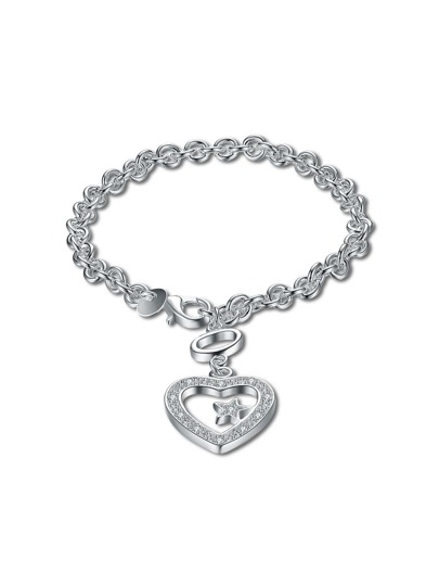 Heart And Star Detail Chain Bracelet