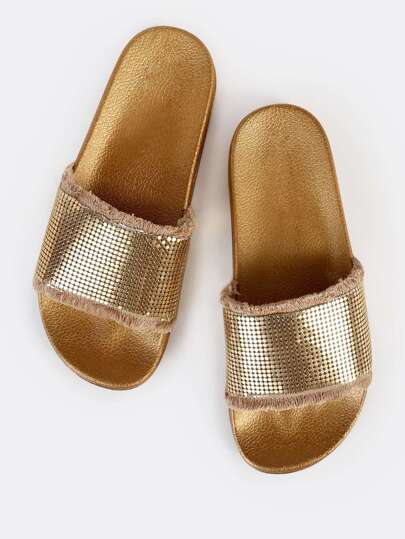 Frayed Chainmail Slides GOLD