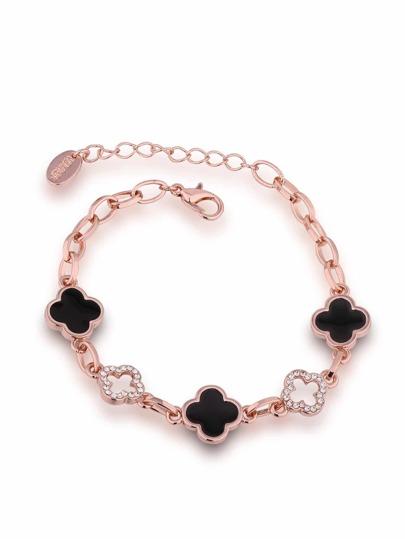 Bracelet de chaîne design de fleur en strass