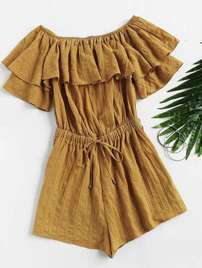 Frill Off Shoulder Striped Jacquard Playsuit