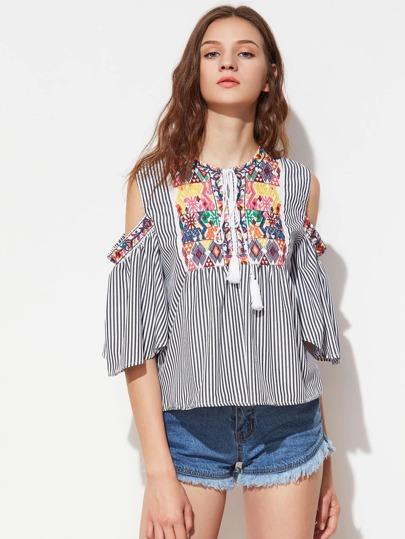 Embroidery Open Shoulder Tassel Tie Top