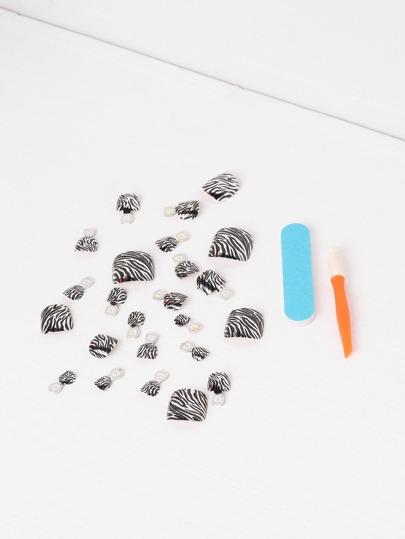 Zebra False Toe Nail 24pcs With Nail File