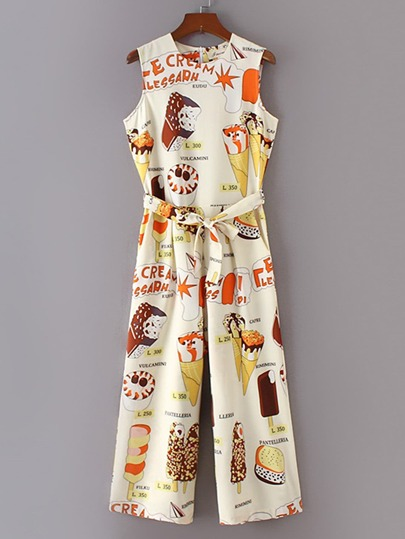 Ice Cream Print Sleeveless Jumpsuit With Self Tie