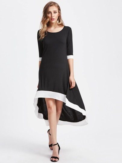 Dip Hem Contrast Trim Mid Calf Dress