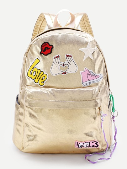 Cartoon Patch Decorated PU Backpack
