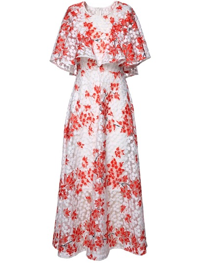Leaves Gauze Embroidered Cape Dress