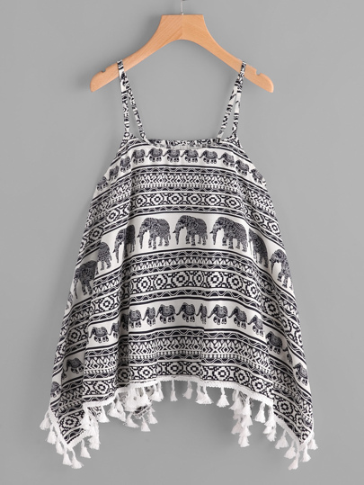 Elephant Print Fringe Trim Cami Top