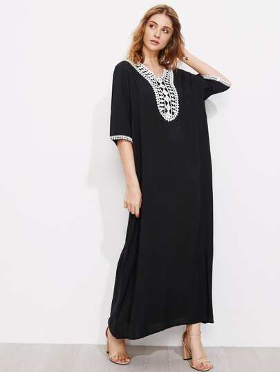 Contrast Crochet Trim Full Length Dress