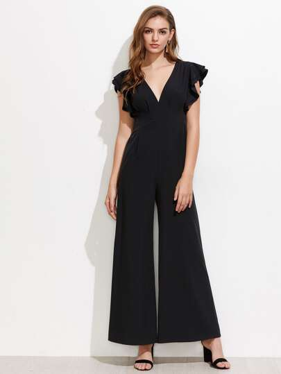Flutter Sleeve Split Back Empire Waist Culotte Jumpsuit