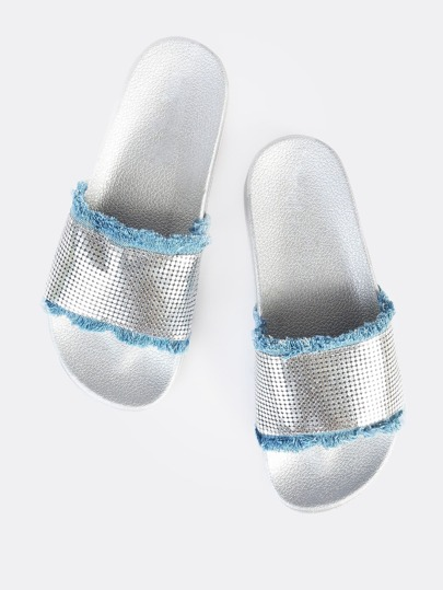 Frayed Denim Chainmail Slides DENIM