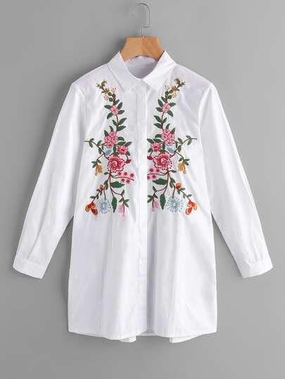 Fiore Bianco ricamo Camicia