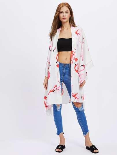 Kimono con stampa di fenicottero