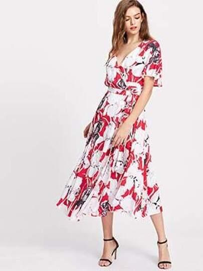 Flower Print Flutter Sleeve Surplice Wrap Dress