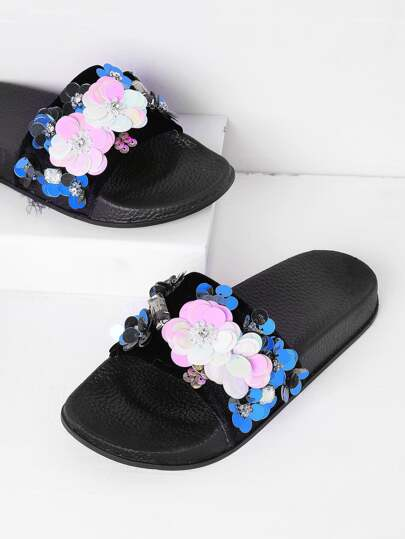 Sequin Flower Applique Flat Sliders