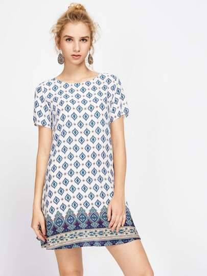 Ornate Print Swing Dress