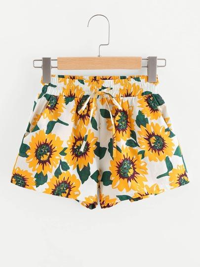 Sunflower Print Drawstring Waist Shorts