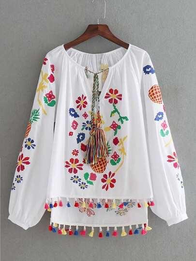 Lantern Sleeve Embroidery Tassel Tie Top
