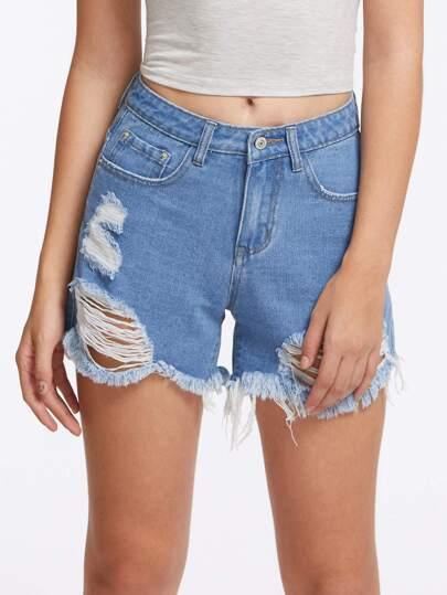 5 Pocket Distressed Denim Shorts