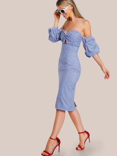 Twist Front Bardot Sleeve Stripe Dress BLUE
