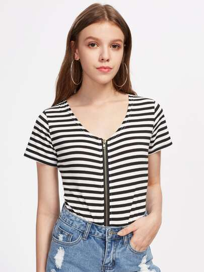 Contrast Striped Zipper Up Bodysuit