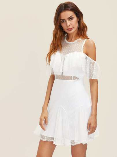 Frill Open Shoulder Dot Mesh Overlay Godet Dress