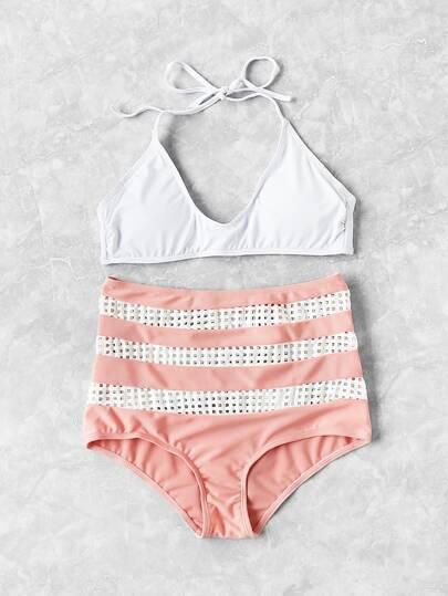 Bikini Set mit Aushöhlen und hoher Taille
