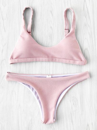 High Leg Textured Bikini Set