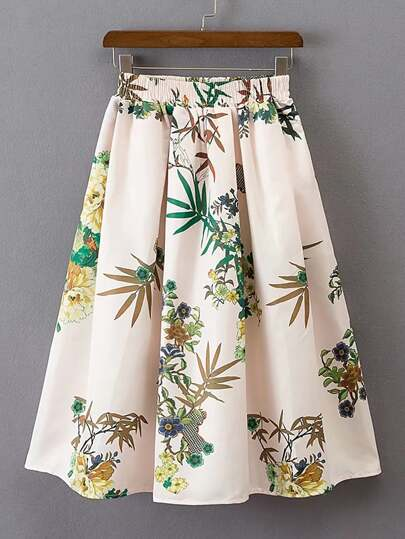 Elastic Waist Pleated Skirt
