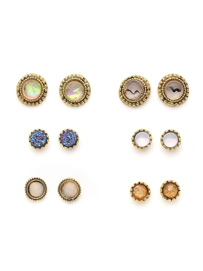 Gemstone Round Shaped Stud Earring Set