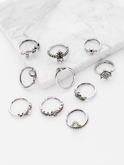 Starfish And Tortoise Design Ring Set 10pcs