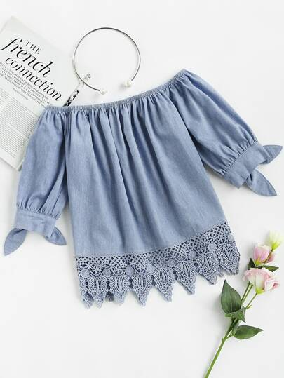 Crochet Trim Tie Cuff Chambray Bardot Top