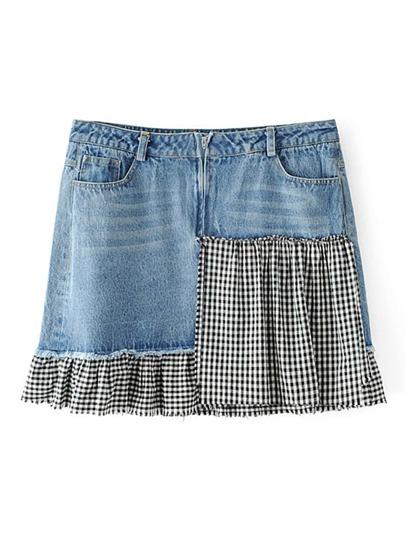 Contrast Checkered Denim Skirt