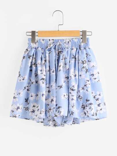 Shorts avec cordon de taille imprimé fleur random