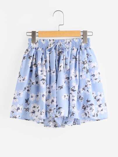 Floral Print Random Drawstring Waist Shorts