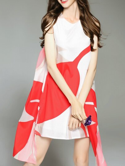 Color Block Asymmetric Dress
