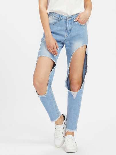 Light Wash Open Knee Boyfriend Jeans