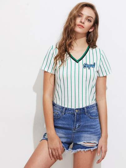 Embroidered Letter Patch Striped Slub Tee