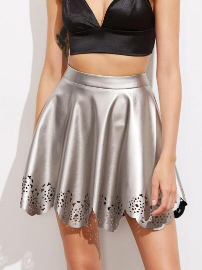 Laser Cut Scallop Hem Metallic Faux Leather Skirt