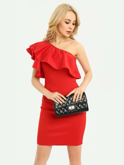 Asymmetric Shoulder Frill Trim Above-Knee Hemlines Dress