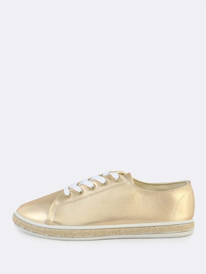 Metallic Lace Up Espadrilles Sneakers GOLD